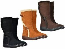 ROCKET DOG SLOPE SUEDE FAUX FUR FLAT WEDGE TOGGLE ZIP CALF BOOTS SIZES 3-8 NEW
