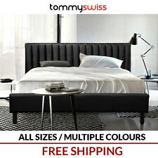 TOMMY SWISS: Deluxe King, Queen & Double Size Bed Frame PU Leather Black White