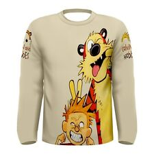 NEW CALVIN And Hobbes sublimated Men's LONG Sleeve T-SHIRT Size S M L XL 2XL 3XL