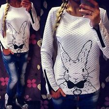 Sweet Rabbit Print Women Knitted Sweater Jumper Tops Pullover Cardigan Knitwear