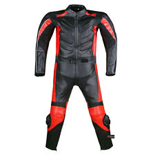 2PC MOTORCYCLE 2 PC LEATHER RACING SUIT ARMOR RED