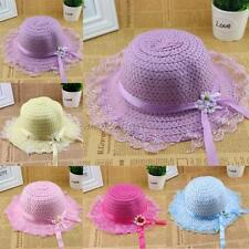 Child Kid Girl Lace Flower Brim Trim Summer Beach Sun Straw Visor Hat Cap A78