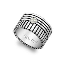 Hoxton London Mens Jewellery Sterling Silver Stripe 2 Way Striped Band Ring