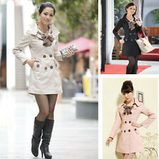 Women's Slim Double Breasted Long Style Trench Jacket Leopard Scarf Coat Outwear