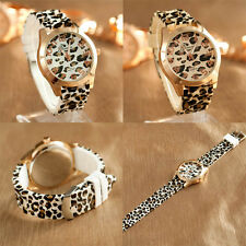 Geneva Casual Sexy Womens Girls Leopard Jelly Silicone Quartz Wristwatch