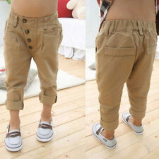 Baby 2-7Y Soft Cotton Straight Pants Child Boy Trousers Casual Harem Pants H20
