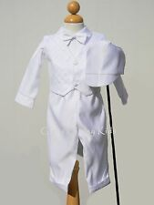 New Baby Boys Infant Christening Baptism White Outfit Set Dedication w/ Hat SB