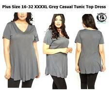 LADIES PLUS SIZE 16-32 XXXXL GREY CASUAL JERSEY TUNIC TOP BLOUSE DRESS COMFY MOD