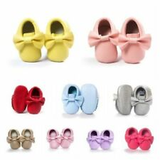 Toddler Infant Boys Girls Bowknot Moccasin Baby Kid Soft Sole Leather Crib Shoes