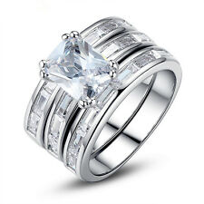 Ladis 3 Piece CZ White Gold Plated Engagement Wedding Rings