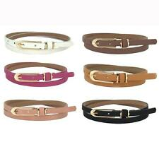 Lovely Women girl Cross Buckle Cany Color Thin Skinny Leather Belt Waistban