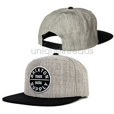 BRIXTON Men's Light Heather Grey / Black OATH III SNAP BACK Cap Hat NEW