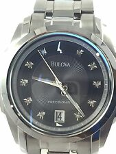 Men's Bulova 96D110 Stainless Steel With Diamond Accented Black Dial Watch