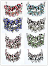 5pcs CRYSTAL Retro Silver SPACER BEADS FIT European Beads Charm Bracelet  8Color