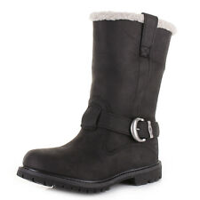 Womens Timberland Nellie Pull On Black Leather Lined Waterproof Boots Size