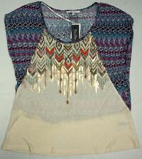 NWT $59 MISS ME Geometric Shimmer Top Scoop Shirt Womens Juniors  M S XS  NEW