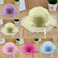 Kids Wide Large Brim Summer Beach Sun Straw Lace Hat Visor Removable Cap