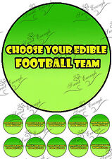 12 Football Team Badge Cup Cake toppers PRE-CUT Edible Wafer Paper icing large