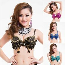 Sexy Handmade Belly Dance Bra tops Sequins Beads Bells Belly Dance Costumes H90