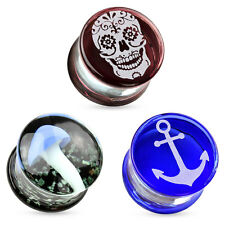 Flesh Tunnel Pyrex Glass Motive Plug Ear Piercing Jewelry Double Flared Ear Tube