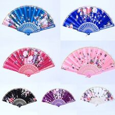 Folding Fabric Fan Fabric & Plastic Retro Hand Fans Wedding Dancing Decor H68