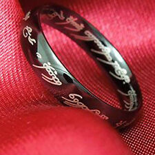 Special Men's Black Stainless Steel Lord of the Promise Love Band Ring Size 8-11