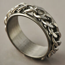 Sports Style White Stainless Steel link Band Promise Love Band Ring Size 8-11