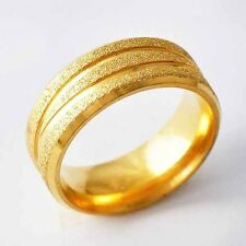 Yellow Gold Filled Sandy Fashion Unisex band Promise Love Band Ring Size 7-11
