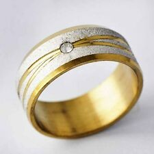 Clear CZ Gold Filled Stainless steel Sandy band Promise Love Band Ring Size 7-12