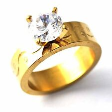 Wholesale Women Gold Tone Stainless Steel Wedding Promise Love Band Ring