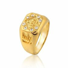 Mens Yellow Gold Filled Crystal Allah Promise Love Band Ring Size 9 10 11