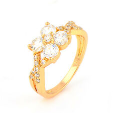 Fashion 22K Yellow Gold Plated Round Cubic Zirconia Promise Love Band Ring