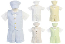 New Baby Toddler Boys Striped Shorts 5 Pc Set Outfit Vest Easter Wedding G820