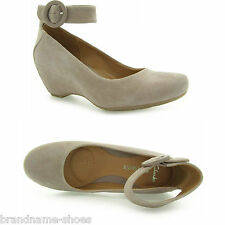 WOMENS CLARKS CAPRICORN MOON HEATHER SUEDE TAUPE NUDE WEDGE WEDGES HEELS SHOES