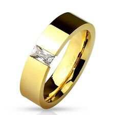 Stainless Steel Gold 0.5 Carat Baguette CZ Band Ring Size 5-13