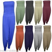 Womens Ladies Badeau Strapless Boob Tube Plain All In One Harem Jumpsuit 8-26