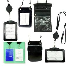 2- ID Card Holder Badge  Retractable W/ Neck Strap Black, Color,Leather,Plastic