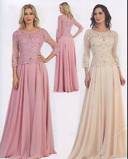 LONG FORMAL OCCASION WEDDING MOTHER OF BRIDE GROOM DRESS EVENING GOWN M /5XL NEW