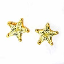 Fashion Yellow/purple CZ Pentagon star Yellow Gold Plated Womens Stud Earrings