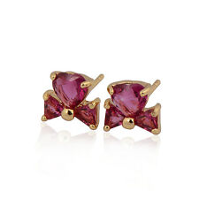 Delicate Bowknot 18K Yellow Gold Plated Colorful Heart CZ Stud Earrings