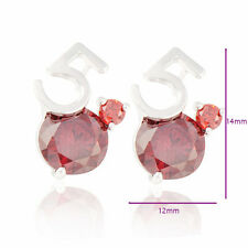 Funny & Gorgeous Number Platinum Gold Plated Cubic Zirconia Stud Earrings