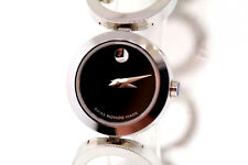 Ladies Movado 0605815 ONO Diamond Accented Stainless Steel Black Dial Watch