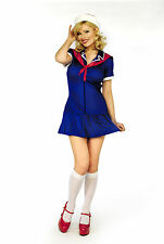 Womens Ladies Fancy Dress Full Costume Miss Royal Navy Outfit Sexy Blue Cute