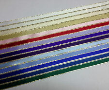 10 metres of 10mm Double Faced Sation Ribbon with Gold Lurex Edge