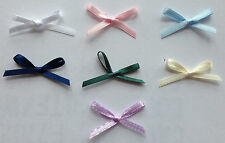 50 x Ready Tied Double Faced 3mm Satin Ribbon Bows for Decorating Favours