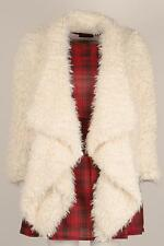 Womens Ladies Heidi Waterfall Cream Shaggy Faux Fur Shrug Shawl Coat Jacket
