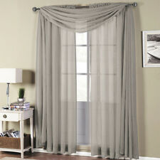 Abri Grey Rod Pocket Crushed Sheer Curtain Panel 100% Polyester