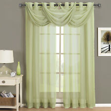 Abri Spring Green Grommet Crushed Sheer Curtain Panel 100% Polyester