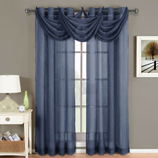 Abri Navy Grommet Crushed Sheer Curtain Panel 100% Polyester