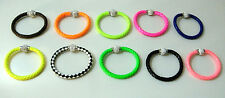 Leather Bracelets Weaved Design Faux Women Girls Clear Gemstones Magnetic Clasp